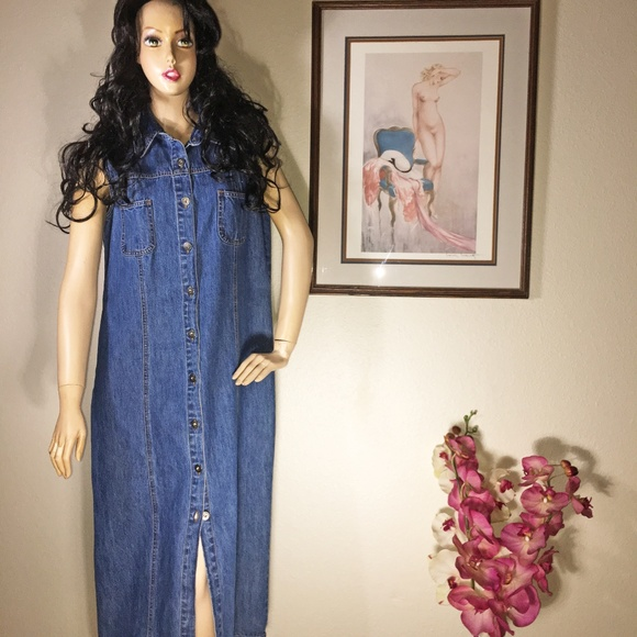 Sonoma Dresses & Skirts - Vintage Sonoma Denim Jean Maxi Dress Size Large